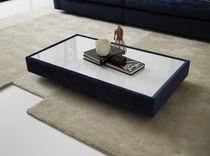 Table basse contemporaine / en verre / en bois / rectangulaire