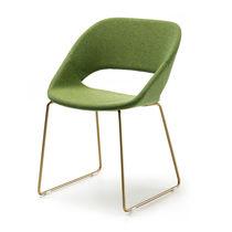 Chaise visiteur contemporaine / tapissée / luge / en tissu