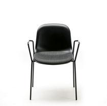 Chaise design scandinave / tapissée / empilable / à tablette