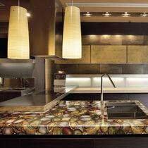 Plan de travail en Solid Surface / en bois fossilisé / en pierre semi-précieuse / de cuisine