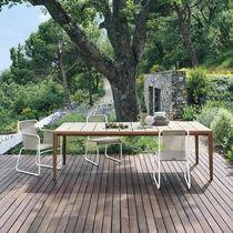 Table à manger contemporaine / en teck / en céramique émaillée / rectangulaire