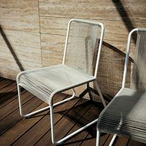 Chaise contemporaine / luge / en acier inoxydable / en polyester
