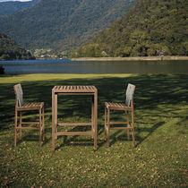 Chaise de bar contemporaine / en teck / en polyester / contract