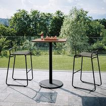 Table mange-debout contemporaine / en teck / en acier inoxydable / en HPL