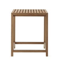 Table mange-debout contemporaine / en teck / carrée / de jardin