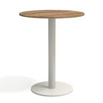 Table mange-debout contemporaine / en teck / en acier à revêtement par poudre / en HPL