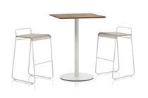 Table mange-debout contemporaine / en teck / en HPL / en acier inoxydable