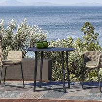 Table bistrot contemporaine / en ciment / en acier inoxydable / rectangulaire