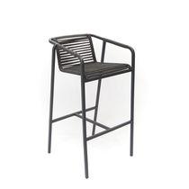 Chaise de bar contemporaine / avec accoudoirs / en aluminium / en acier inoxydable poli