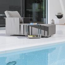Table d'appoint contemporaine / en acier inoxydable / rectangulaire / carrée