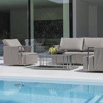 Table basse contemporaine / en acier inoxydable / rectangulaire / de jardin