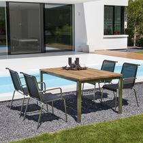 Table contemporaine / en ciment / en chêne / en teck