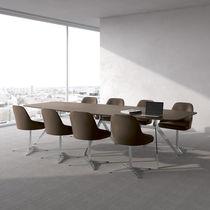 Table de réunion contemporaine / en plaqué bois / en aluminium / en stratifié