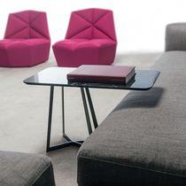 Table d'appoint contemporaine / en métal / en marbre / rectangulaire