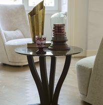 Table d'appoint contemporaine / en métal / en marbre / ronde