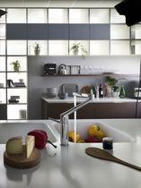 Mitigeur en laiton chromé / de cuisine / 1 trou / à bec orientable