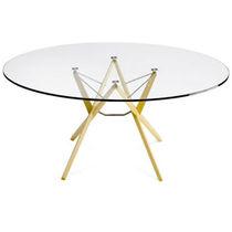 Table contemporaine / en chêne / en wengé / en verre
