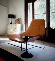 Chaise longue contemporaine / en tissu / en cuir / en acier