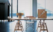 Table de travail contemporaine / en hêtre / en verre trempé / en stratifié