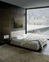 Lit double / contemporain / tapissé / avec tête de lit tapissée