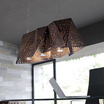 Lampe suspension / design original / en noyer / à LED