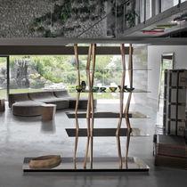 Bibliothèque design original / en noyer / en aluminium / en verre