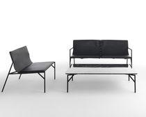 Table basse contemporaine / en marbre / en acier laqué / rectangulaire