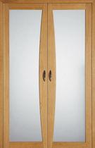 Porte pour placard / coulissante / en chêne / vitrée