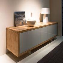 Buffet contemporain / en bois / en verre laqué / en métal