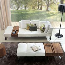 Canapé contemporain / en cuir / en bois massif / 3 places