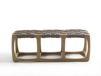 Banc contemporain / en bois massif / en cuir