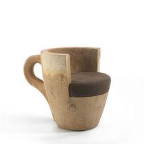 Fauteuil design original / en bois massif / en cuir / en cèdre