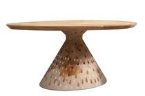 Table design original / en bois massif / en cèdre / carrée