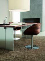 Table contemporaine / en bois massif / en aluminium / rectangulaire