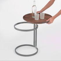 Table d'appoint contemporaine / en bois / en métal / ovale