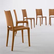 Chaise contemporaine / ergonomique / en bois massif / en cuir