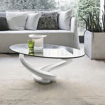 Table basse contemporaine / en verre / en verre trempé / ovale