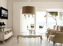 Table basse de style / en verre / en bois laqué / rectangulaire