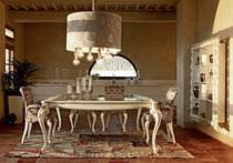 Table design nouveau baroque / en bois peint / rectangulaire / blanche