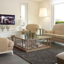 Table basse contemporaine / en bois / en verre / rectangulaire
