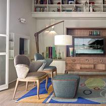 Chaise classique / tapissée / en tissu / en bois