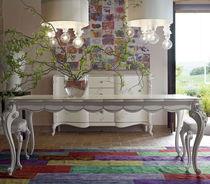 Table de style / en bois laqué / rectangulaire / à rallonge