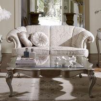 Table basse de style / en verre / en bois laqué / carrée