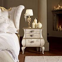 Table de chevet de style / en bois laqué / rectangulaire / avec tiroir