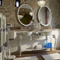 Console pour lavabo en bois / en cristal