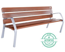Banc public / classique / en bois / en fonte d'aluminium