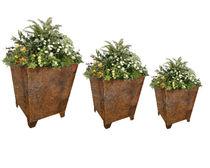 Jardinière en acier COR-TEN® / carrée / classique / pour espace public