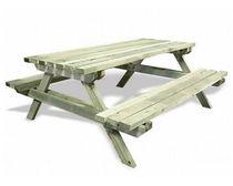 Table de pique-nique contemporaine / en pin / rectangulaire / pour espace public
