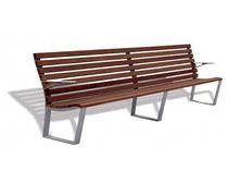 Banc public / contemporain / en bois / en fonte d'aluminium