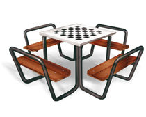 Table d'échecs contemporaine / pour usage extérieur / pour espace public